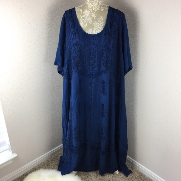 MSRP $50.00 sz L ALLISON BRITTNEY Blue sleeveless Maxi Dress NWT